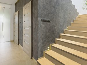 Creative use of different textures in hallway design